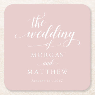 Elegant Blush & White Calligraphy Wedding Square Paper Coaster