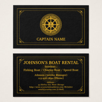Elegant Boat Rental Black Gold (Personalize) Business Card