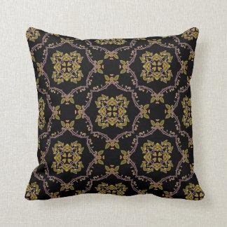 Elegant Boho Vintage Black Green Tile Pattern Throw Pillow