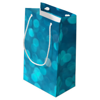 Elegant Bokeh Blue Turquoise Circles Light Pattern Small Gift Bag