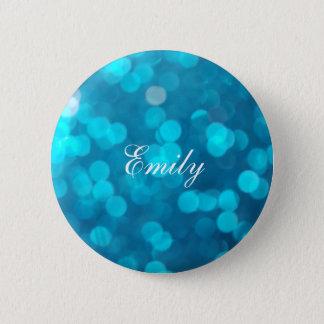 Elegant Bokeh Blue Turquoise Circles Pattern 2 Inch Round Button