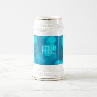 Elegant Bokeh Blue Turquoise Circles Pattern Beer Stein