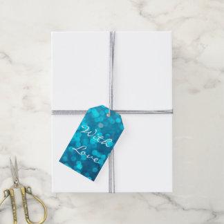 Elegant Bokeh Blue Turquoise Circles Pattern Gift Tags