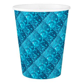 Elegant Bokeh Blue Turquoise Circles Pattern Paper Cup