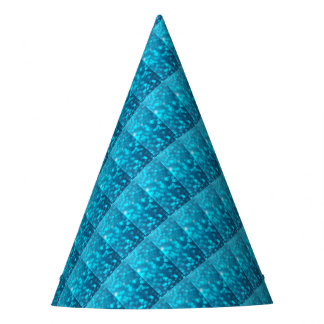 Elegant Bokeh Blue Turquoise Circles Pattern Party Hat