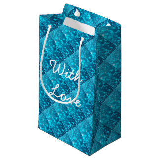 Elegant Bokeh Blue Turquoise Circles Pattern Small Gift Bag