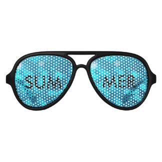 Elegant Bokeh Blue Turquoise Circles Pattern Sunglasses