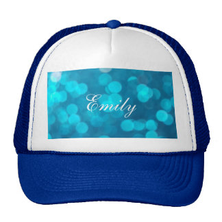 Elegant Bokeh Blue Turquoise Circles Pattern Trucker Hat
