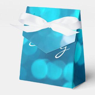 Elegant Bokeh Blue Turquoise Circles Pattern Wedding Favor Boxes