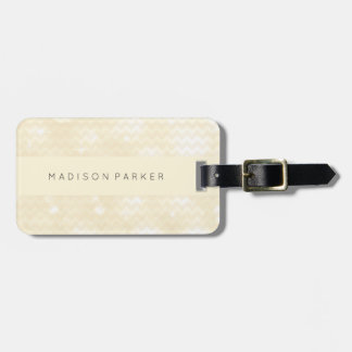 Elegant Bokeh Chevron Look on Ecru Luggage Tag