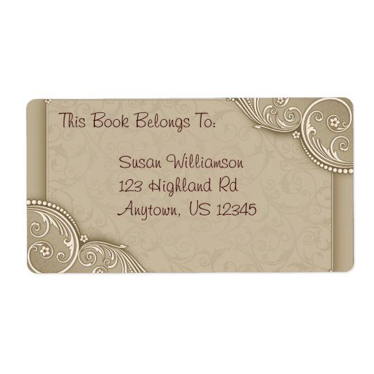 Elegant Bookplate or Address Shipping Label