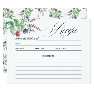 Elegant Botanic Berries Bridal Shower Recipe Card