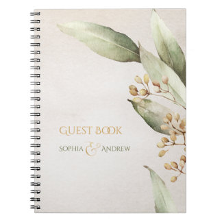 Elegant botanical greenery vintage rustic wedding notebooks
