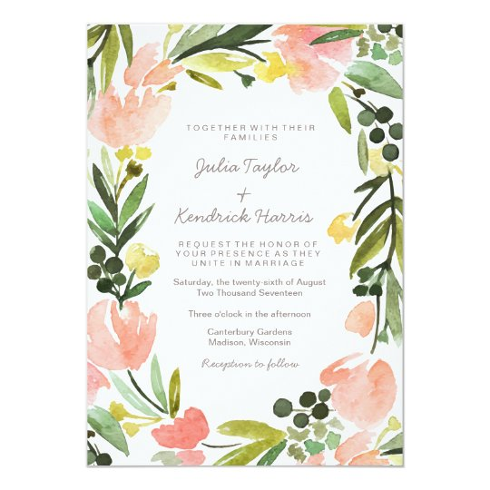 Elegant Botanical Watercolor Floral Wedding Card