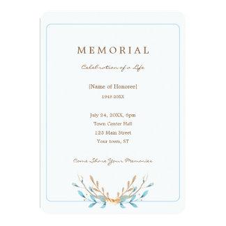 Elegant Bouquet of Leaves Memorial Invitation