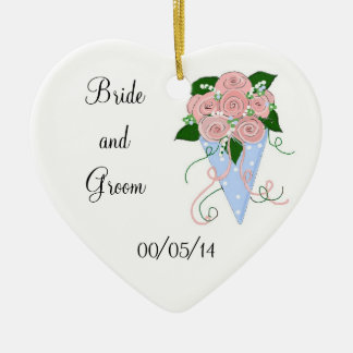 Elegant Bouquet Save the Date Double-Sided Heart Ceramic Christmas Ornament