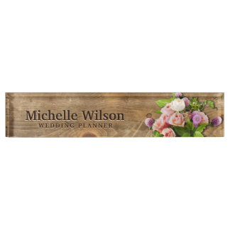 Elegant Bouquet & Wood Wedding Planner Desk Nameplates
