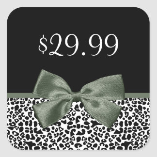 Elegant Boutique Leopard Print Mossy Green Bow Square Sticker