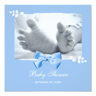 "Elegant Boy Baby Shower Baby Feet With Blue Bow 5.25"" Square Invitation Card"