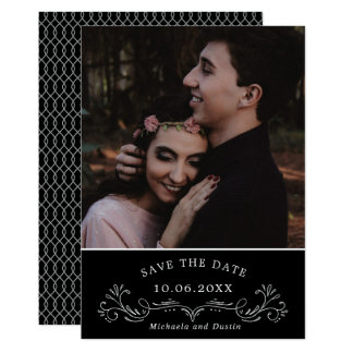 Elegant Bracket Monochrome Photo Save the Date Card