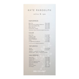 Elegant Branch Salon Price List Service Menu Customized Rack Card