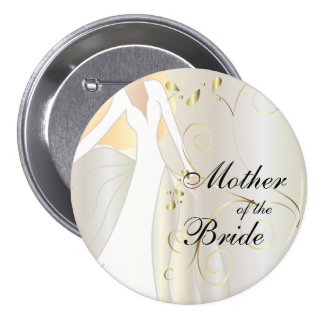 Elegant Bridal Party with Gold Accents 3 Inch Round Button