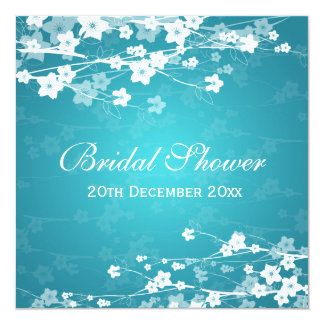 "Elegant Bridal Shower Cherry Blossom Blue 5.25"" Square Invitation Card"