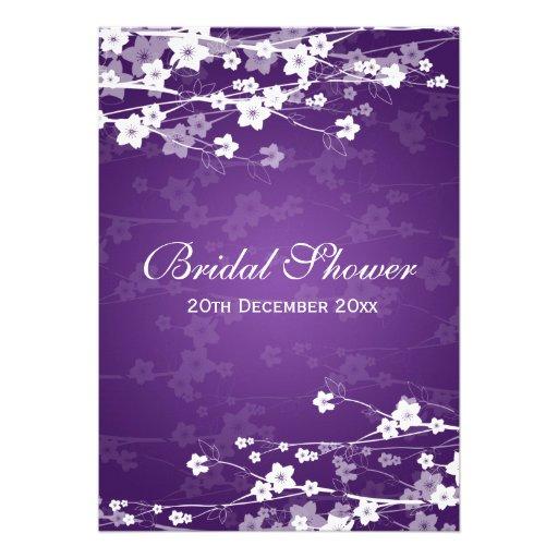 Elegant Bridal Shower Cherry Blossom Purple Personalized Announcement