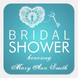 Elegant Bridal Shower Key To My Heart Turquoise Square Sticker