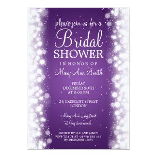 "Elegant Bridal Shower Magic Sparkle Purple 5"" X 7"" Invitation Card"