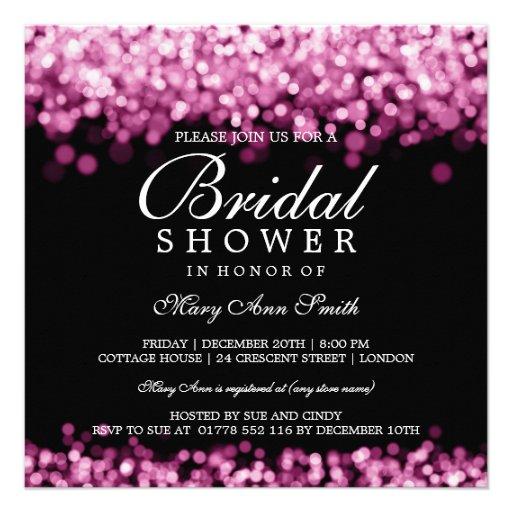 Elegant Bridal Shower Pink Lights Invitation