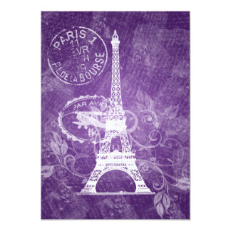 Elegant Bridal Shower Romantic Paris Purple Personalized Announcements