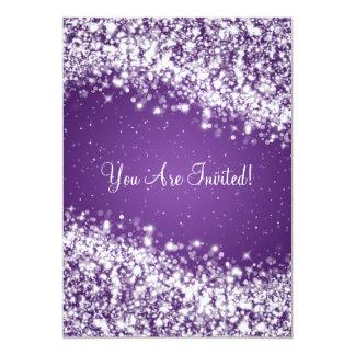 "Elegant Bridal Shower Sparkling Wave Purple 5"" X 7"" Invitation Card"