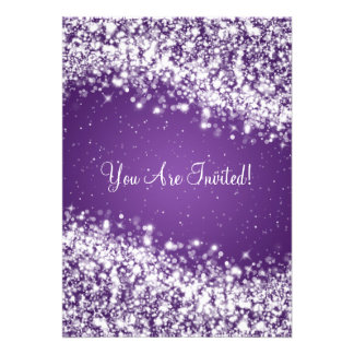 Elegant Bridal Shower Sparkling Wave Purple Custom Invitation
