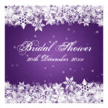 Elegant Bridal Shower Winter Snowflakes Purple
