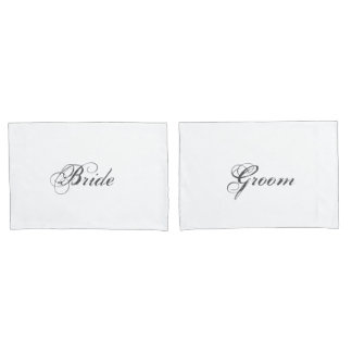 Elegant Bride and Groom Bridal Bed Pillowcases