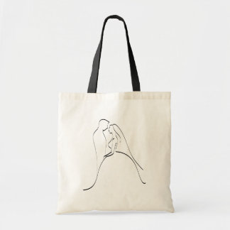 Elegant Bride and Groom Silhouette Template Tote Bag