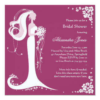 "Elegant Bride Bridal Shower Party Announcement 5.25"" Square Invitation Card"