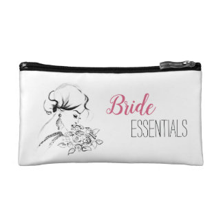Elegant Bride Fashion Illustration Cosmetic Bag