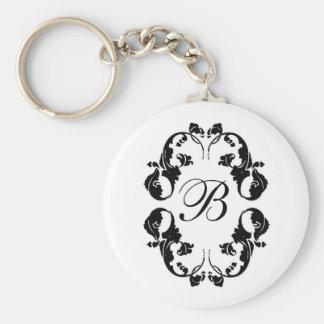 Elegant Bride Monogram Basic Round Button Keychain