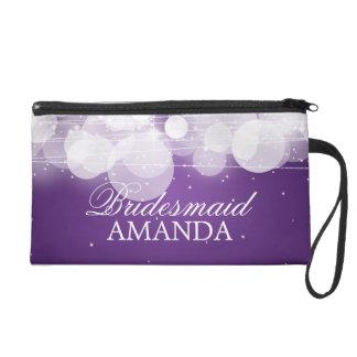 Elegant Bridesmaid Favor Glow & Sparkle Purple Wristlet