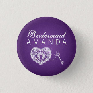 Elegant Bridesmaid Favor Key To My Heart Purple 1 Inch Round Button