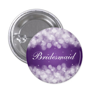 Elegant Bridesmaid Favor Party Sparkle Purple 1 Inch Round Button