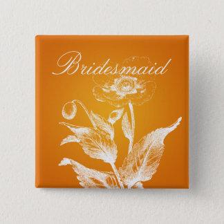 Elegant Bridesmaid Favor Poppy Orange 2 Inch Square Button