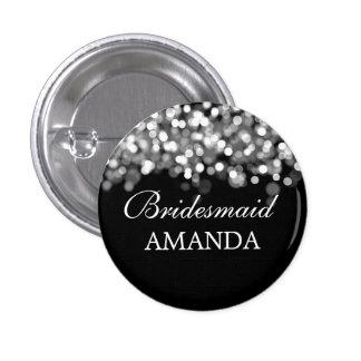 Elegant Bridesmaid Favor Silver Lights 1 Inch Round Button