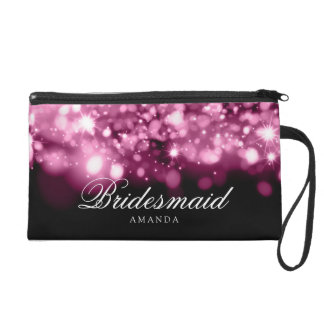 Elegant Bridesmaid Favor Sparkling Lights Pink Wristlet