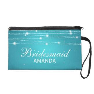 Elegant Bridesmaid Favor Sparkling Lines Turquoise Wristlet Purses