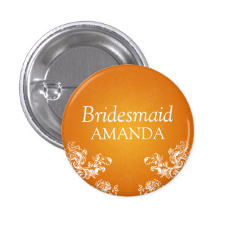 Elegant Bridesmaid Vintage Swirls 2 Orange 1 Inch Round Button