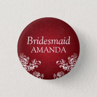 Elegant Bridesmaid Vintage Swirls 2 Red 1 Inch Round Button