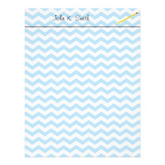 Elegant bright blue chevron zigzag stripes. letterhead template